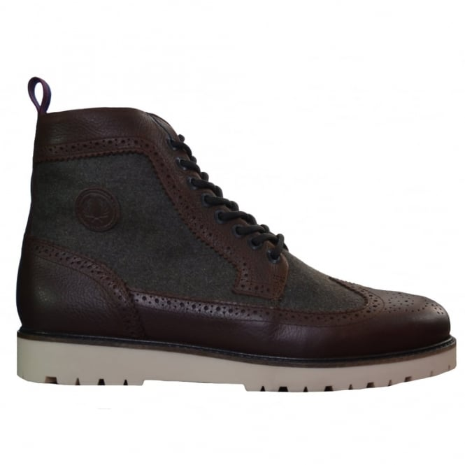 Fred Perry Mens Dark Chocolate Northgate Leather And Wool Boot