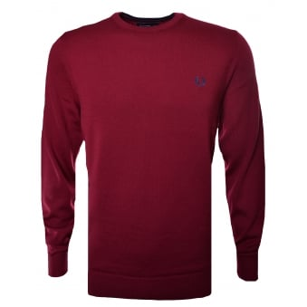 Fred Perry Men's Dark Red Jumper