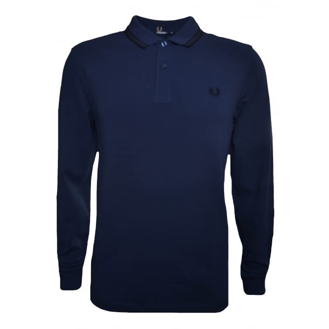 Fred Perry Men's Deep Night Long Sleeved Polo Shirt