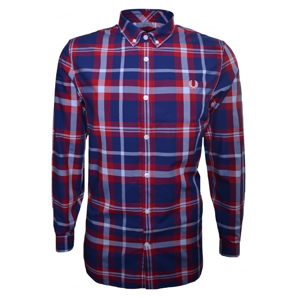Fred Perry Bold Check Long Sleeve Shirt Blue Mens