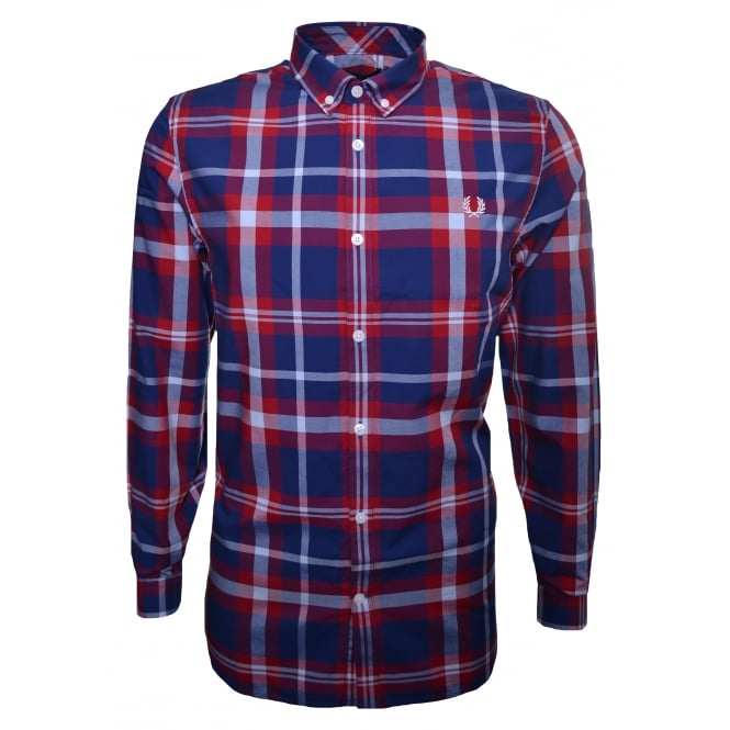 Fred Perry Men's England Red Bold Check Long Sleeved Shirt