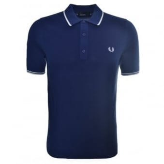 Fred Perry Men's French Navy Blue Tipped Knitted Polo Shirt