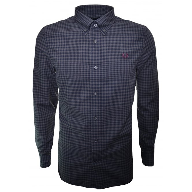 Fred Perry Men's Graphite Grey Marl Distorted Gingham Twill Long Sleeve Shirt