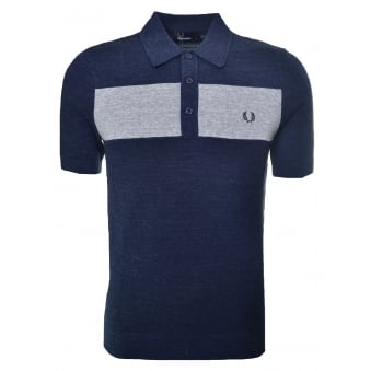 Fred Perry Men's Grey Chest Panel Knitted Polo Shirt
