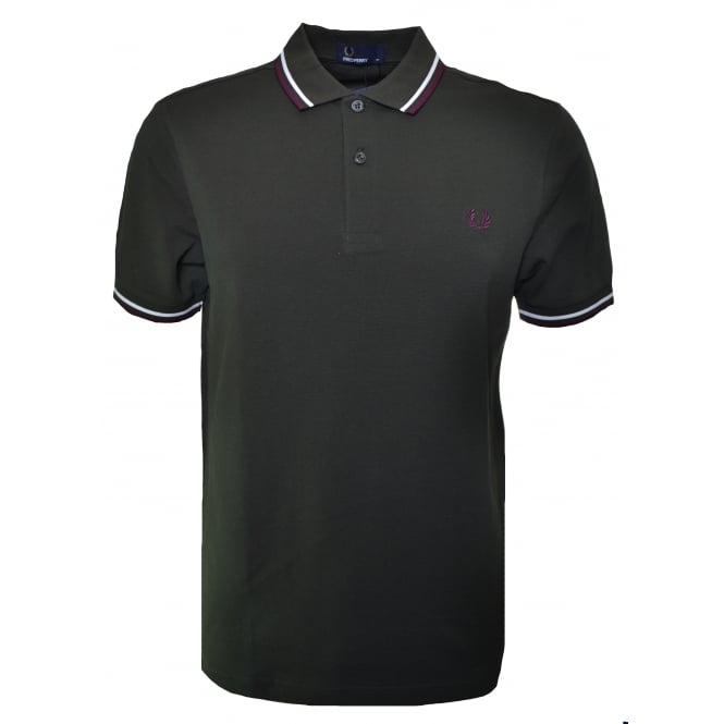 Fred Perry Men's Hunting Green Twin Tipped Polo Shirt