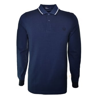 Fred Perry Men's Long Sleeve Service Blue/Black Oxford Long Sleeve Polo Shirt