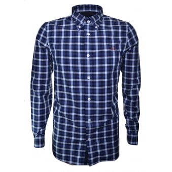 Fred Perry Men's Mid Blue Herringbone Gingham Long Sleeve Shirt