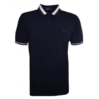 Fred Perry Men's Navy Blue Bold Tipped Pique Polo Shirt