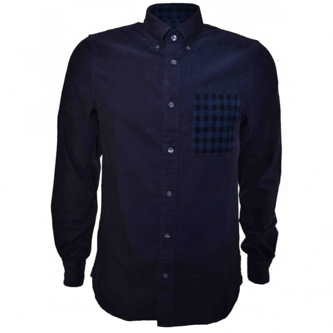 Fred Perry Men's Navy Blue Fine Cord Long Sleeve Shirt
