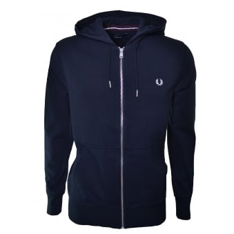 Fred Perry Mens Navy Blue Loopback Hooded Sweatshirt