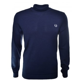 Fred Perry Men's Navy Blue Merino Roll Neck Jumper