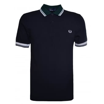 Fred Perry Men's Navy Blue Ribbed Trim Pique Polo Shirt