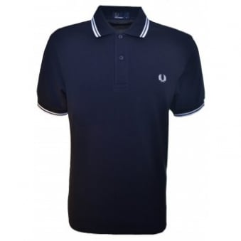 Fred Perry Men's Navy Blue Twin Tipped Polo Shirt