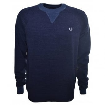 Fred Perry Mens Navy Marl Budding Yarn Tipped Sweatshirt