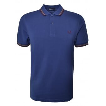 Fred Perry Men's Pacific Blue Twin Tipped Polo Shirt