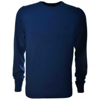 Fred Perry Mens Persian Blue Classic Crew Neck Knit