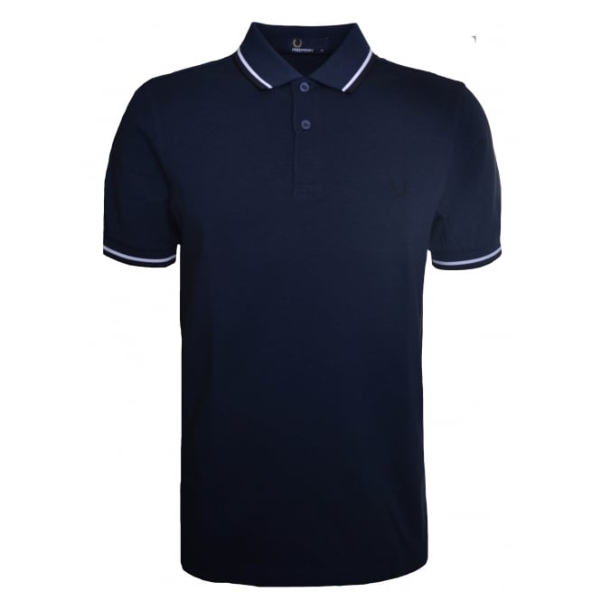 Fred Perry Men's Service Blue Twin Tipped Polo Shirt