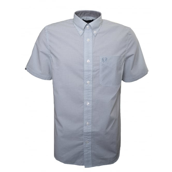 Fred Perry Men's Silver Blue Classic Gingham Short Sleeve Shirt