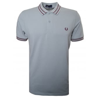Fred Perry Men's Silver Blue Tramline Polo Shirt