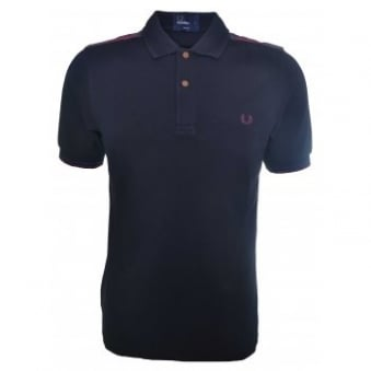 Fred Perry Men's Slim Fit Black Lindsay Tartan Trim Polo Shirt