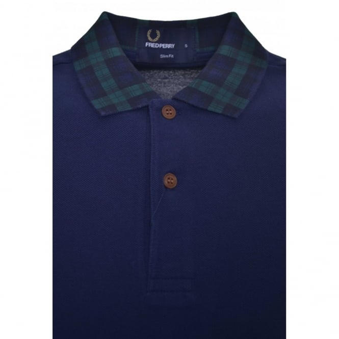 Fred Perry Men's Slim Fit Blackwatch Tartan Collar Polo Shirt