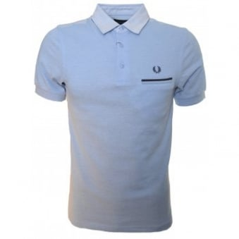 Fred Perry Men's Slim Fit Blue Woven Collar Pique Polo Shirt