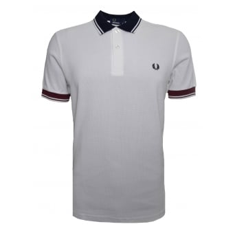 Fred Perry Men's Snow White Ribbed Trim Pique Polo Shirt