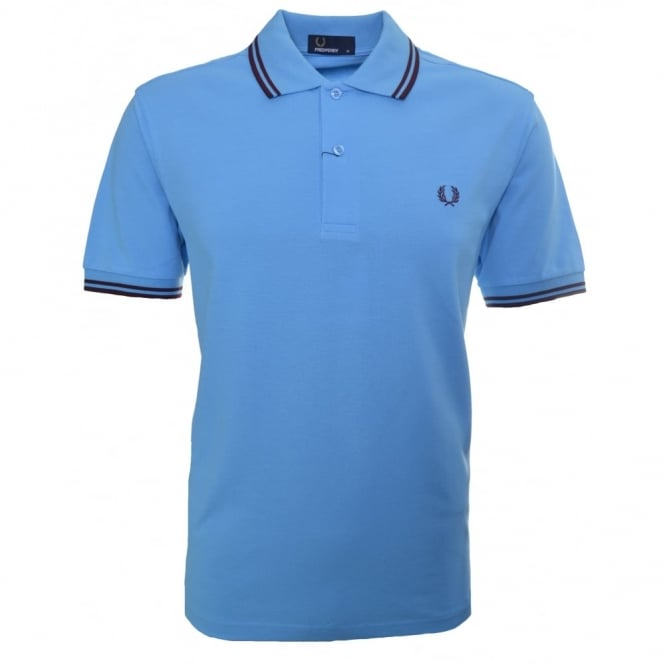 Fred Perry Men's Soft Blue Twin Tipped Polo Shirt
