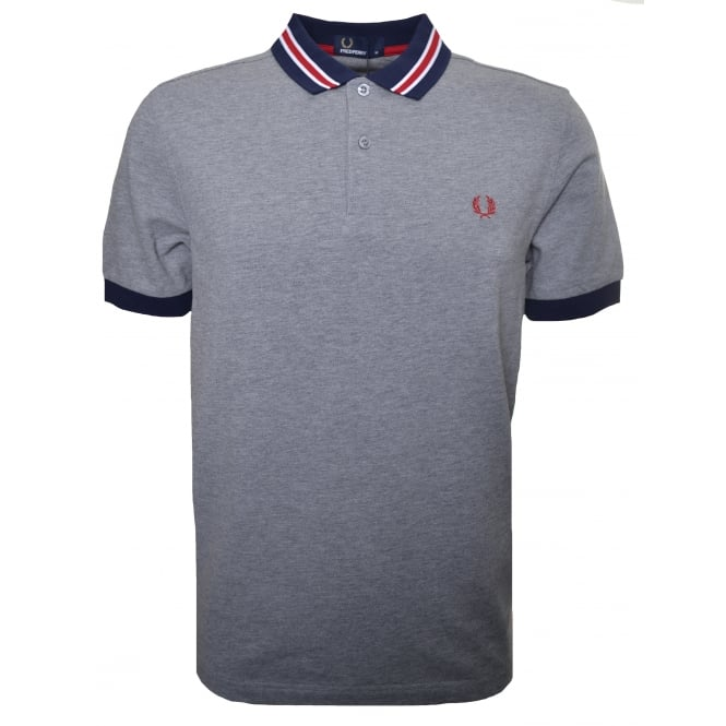Fred Perry Men's Steel Marl Bomber Stripe Polo Shirt