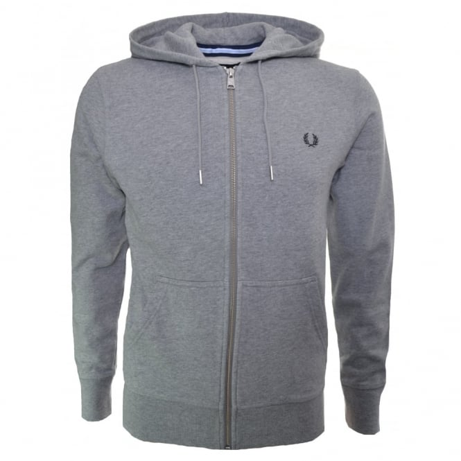32721d0fd83 men's fred perry steel marl tipped zip through hooded sweatshirt
