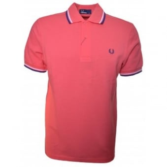 Fred Perry Men's Tropical Red Twin Tipped Polo Shirt