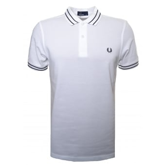Fred Perry Men's White Tramline Polo Shirt