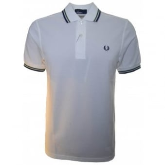 Fred Perry Men's White Twin Tipped Polo Shirt