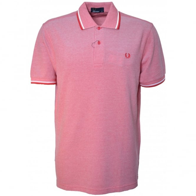 Fred Perry Red Oxford Twin Tipped Polo Shirt
