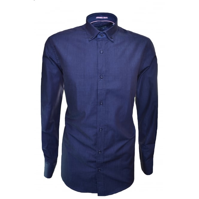 Guide London Men's Blue Petrol Long Sleeve Shirt