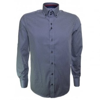 Guide London Men's Blue Polka Dot Long Sleeve Shirt