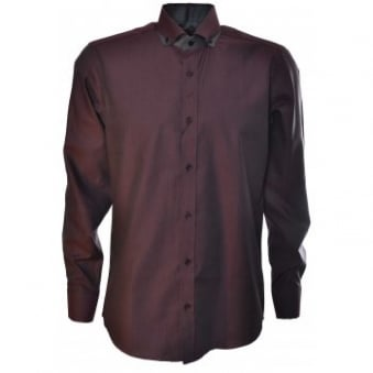 Guide London Mens Burgundy Long Sleeve Shirt