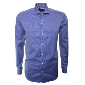 Guide London Men's Navy Blue Check Long Sleeve Shirt