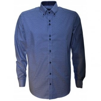 Guide London Mens Navy Blue Geometric Shirt