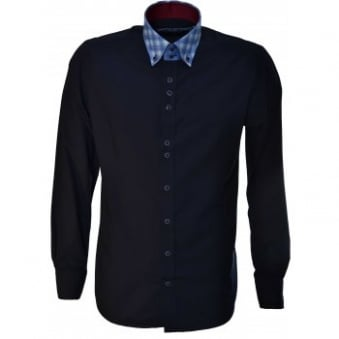 Guide London Mens Navy Blue Long Sleeve Shirt