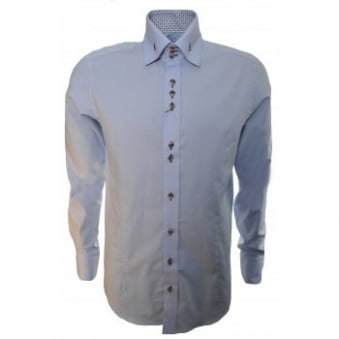 Guide London Men's Pale Blue Long Sleeve Shirt
