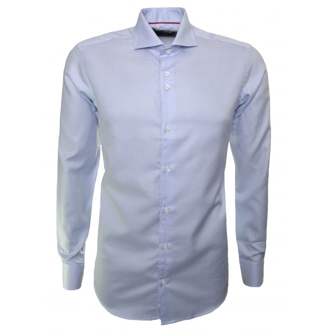 Guide London Men's Sky Blue Check Long Sleeve Shirt