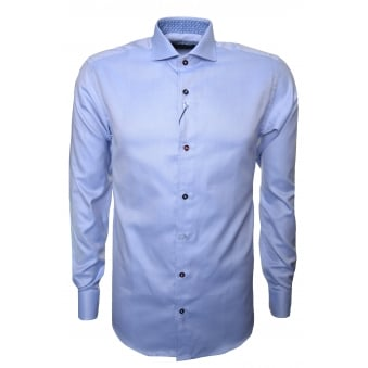 Guide London Men's Sky Blue Long Sleeve Shirt