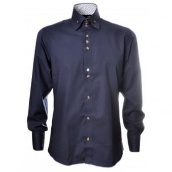 Guide London Navy Blue Button Down Collar Shirt
