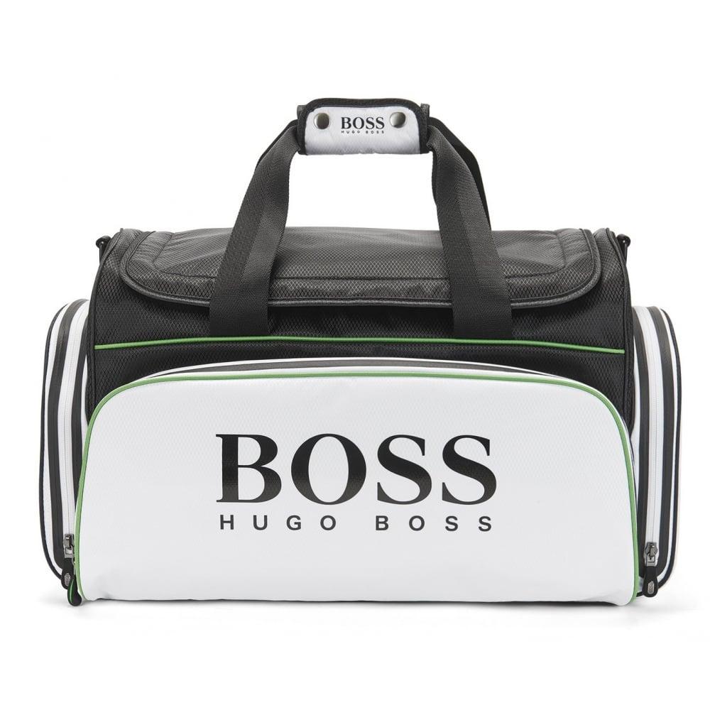 sleek super cute detailed look Hugo Boss Accessories Hugo Boss Green Men's White And Black Holdall Bag