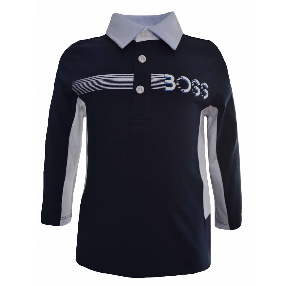 bf8b309b7 Hugo Boss Infants Navy Blue Long Sleeved Polo Shirt