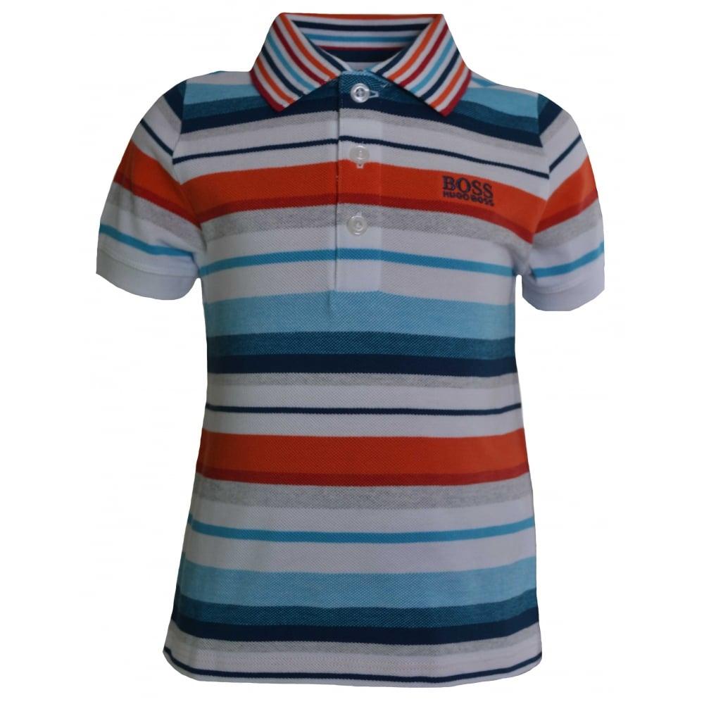 b84c21019 Hugo Boss Infants White Striped Polo Shirt