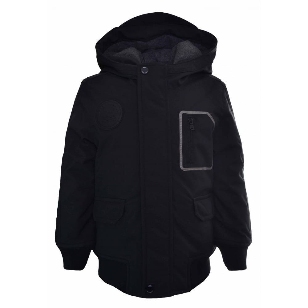 8ab0b8b675 Hugo Boss Kids Black Hooded Parka Jacket
