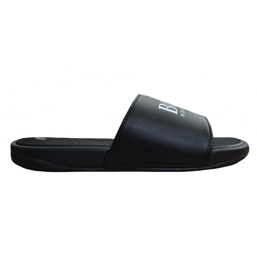 448f45d75bb61 Hugo Boss Kids Black Slider Sandals