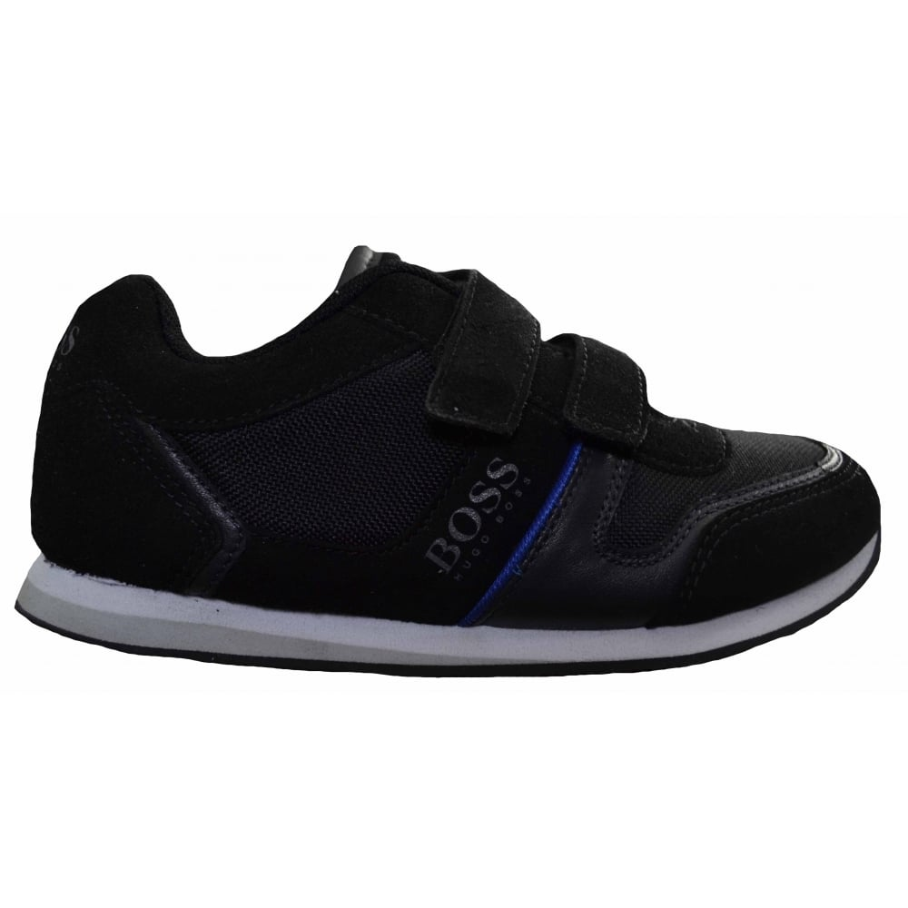 fashion style of 2019 new style & luxury beautiful style Hugo Boss Boys Hugo Boss Kids Black Velcro Trainers